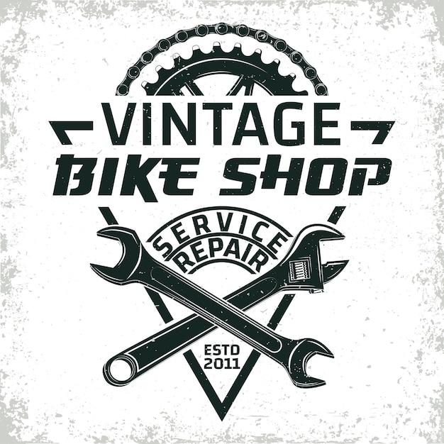 Vintage fietsen reparatie winkel logo Premium Vector