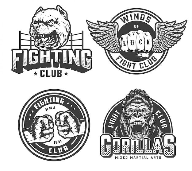 Vintage fight club monochrome badges Gratis Vector