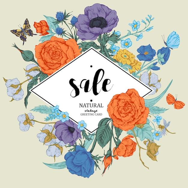 Vintage floral vector verkoop kaart met rozen, anemonen en butterf Premium Vector