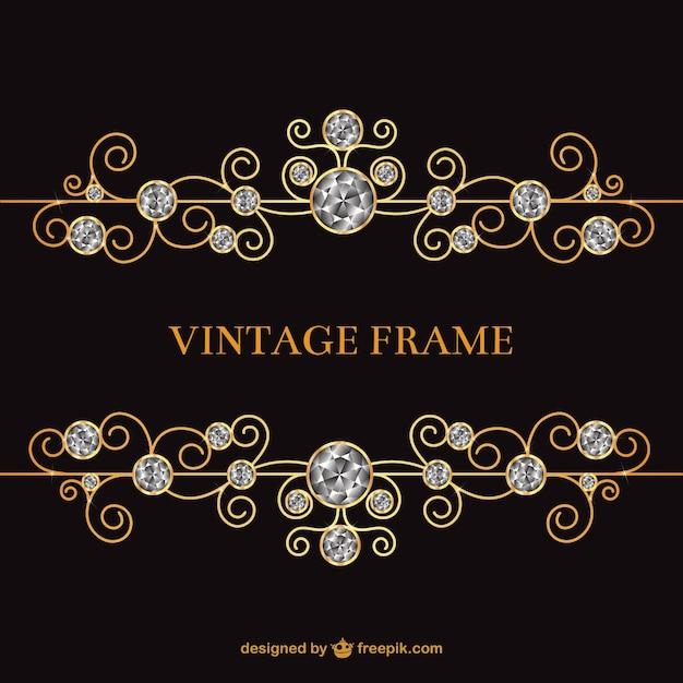 Vintage frame met juwelen Premium Vector