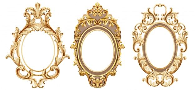 Vintage frames instellen aquarel Premium Vector