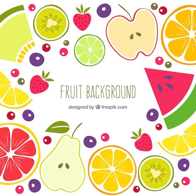 Vintage fruit zomer achtergrond Gratis Vector