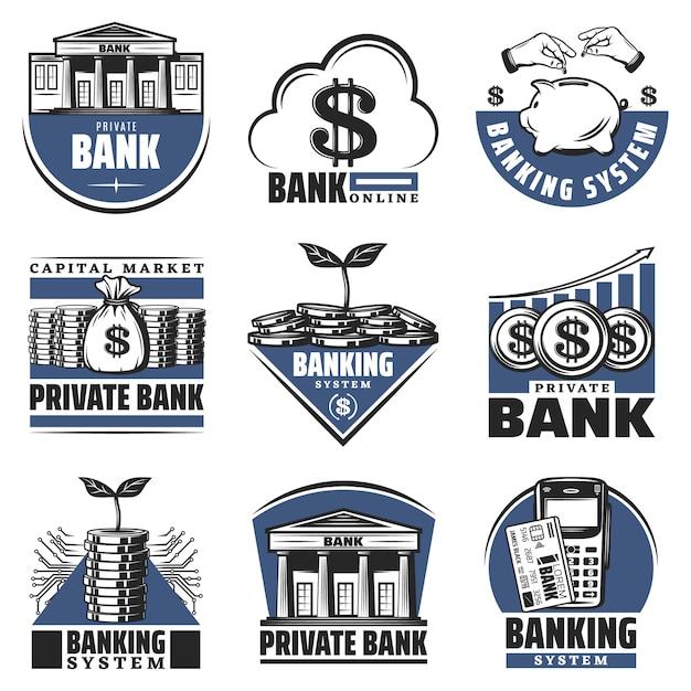 Vintage gekleurde bank emblemen set met spaarvarken gebouw contant geld stapels munten calculator groeiende pijl geïsoleerd Gratis Vector