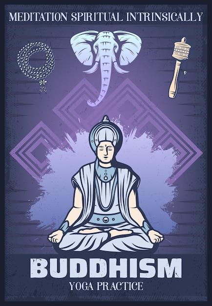 Vintage gekleurde boeddhisme religie poster met boeddhistische zittend in meditatie religieuze rozenkrans kralen olifant tibetaanse gebedsmolen Gratis Vector