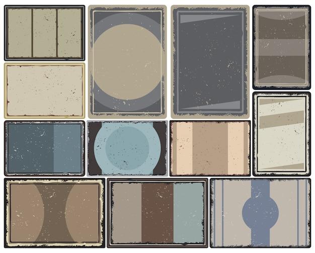Vintage gekleurde frames-collectie met verschillende geometrische vormen voor poster, brochure en boekje ontwerp geïsoleerd Gratis Vector