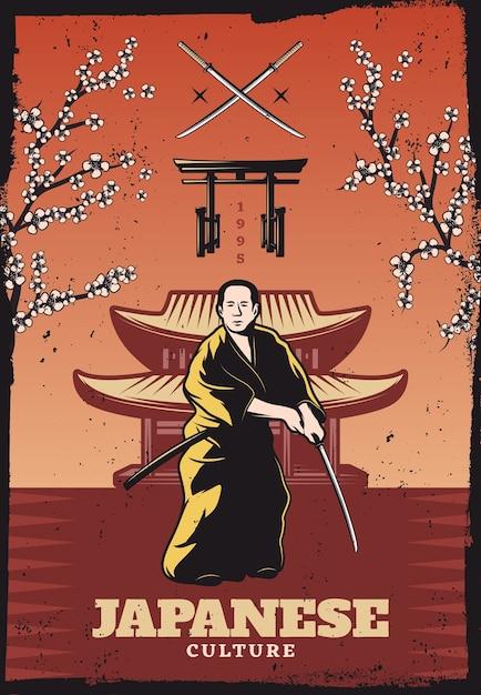 Vintage gekleurde japanse cultuur poster met samurai met zwaard sakura boomtakken traditionele poorten en gebouw Gratis Vector