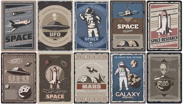 Vintage gekleurde ruimte posters met ruimteschepen ufo planeten astronauten asteroïden mars kolonisatie en onderzoek geïsoleerd Gratis Vector