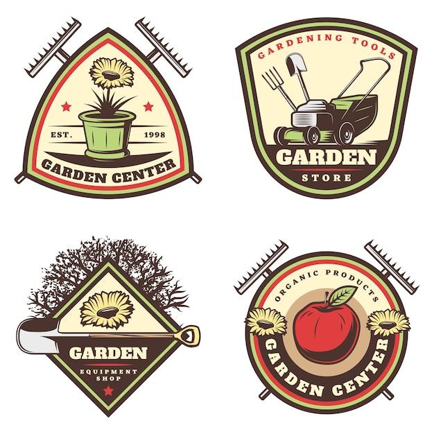 Vintage gekleurde tuinieren emblemen instellen Gratis Vector