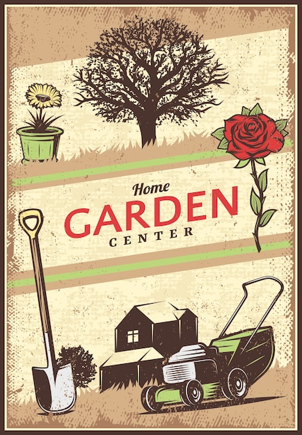 Vintage gekleurde tuinieren poster Gratis Vector