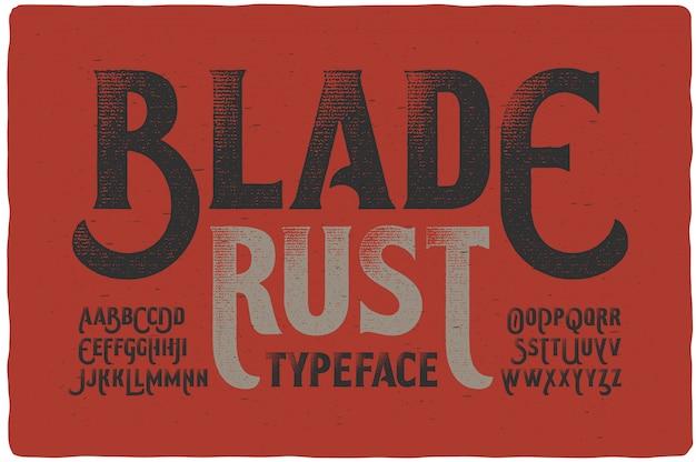 Vintage getextureerde lettertypeset Premium Vector