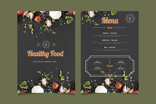 Vintage gezonde voeding menusjabloon Gratis Vector