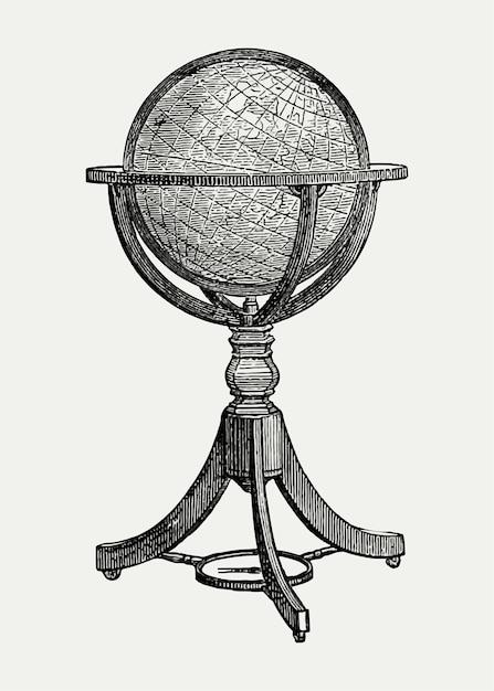 Vintage globe staan illustratie Gratis Vector
