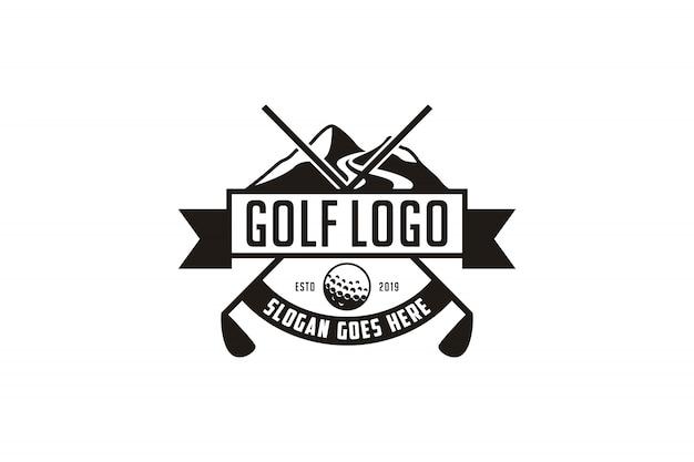 Vintage golf embleem logo Premium Vector