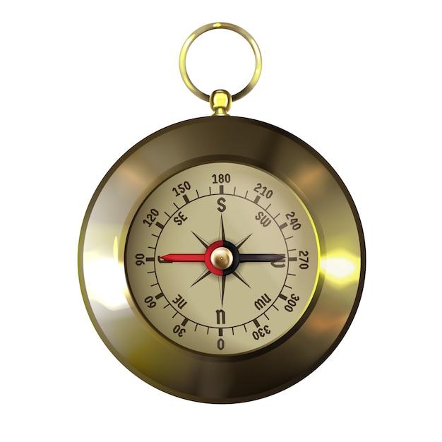 Vintage goud omlijst of koperen kompas met windroos Gratis Vector