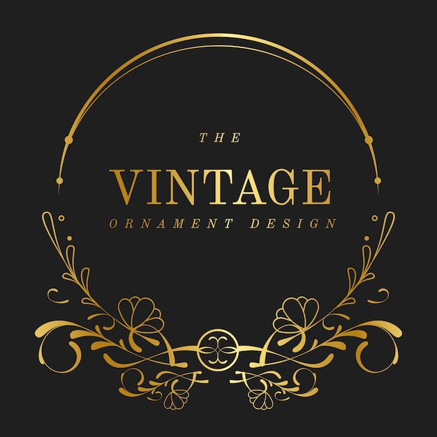 Vintage gouden art nouveau badge vector Gratis Vector
