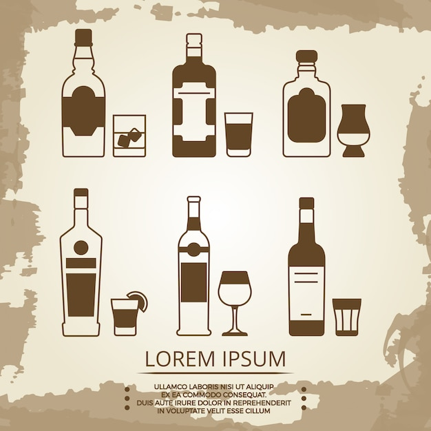 Vintage grunge poster met alcoholische drank pictogrammen Premium Vector