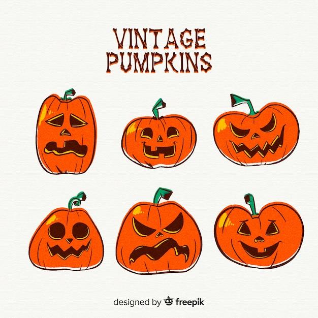 Vintage halloween pompoencollectie Gratis Vector