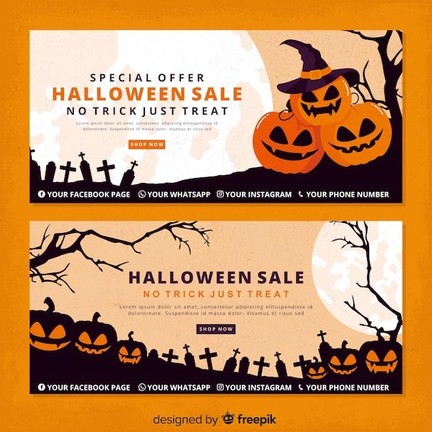 Vintage halloween pompoenen halloween banners Gratis Vector