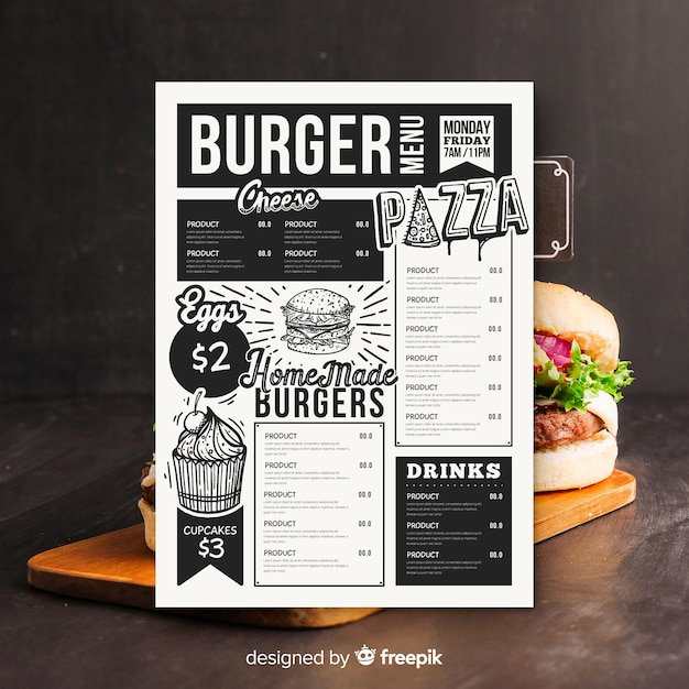 Vintage hamburger menusjabloon Gratis Vector