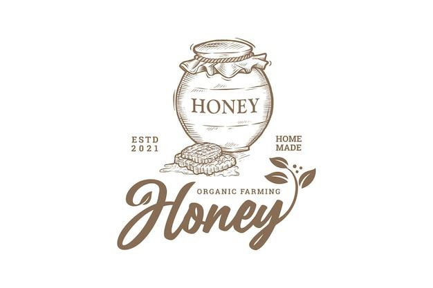 Vintage hand getekend biologische honing landbouw logo Premium Vector