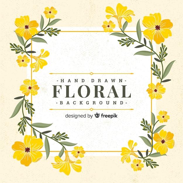 Vintage hand getrokken floral achtergrond Gratis Vector