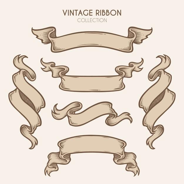 Vintage hand getrokken lint collectie Premium Vector