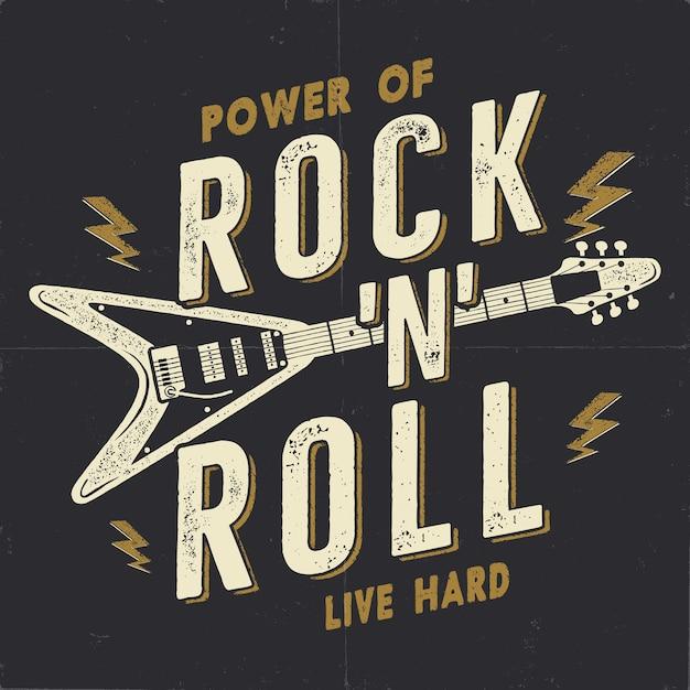 Vintage handgetekende rock n roll poster Premium Vector