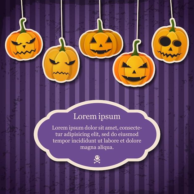 Vintage happy halloween feestelijke sjabloon met tekst in frame en papier hangende pompoenen met verschillende emoties Gratis Vector