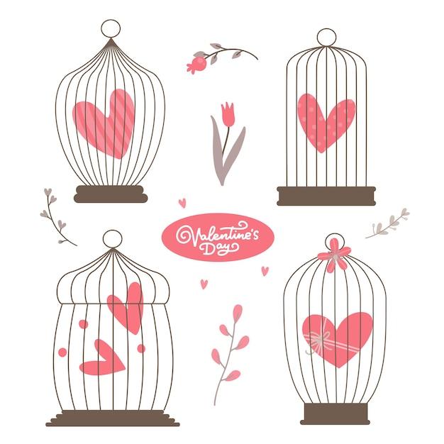 Vintage hart in de vogelkooien geplaatst geïsoleerd Premium Vector