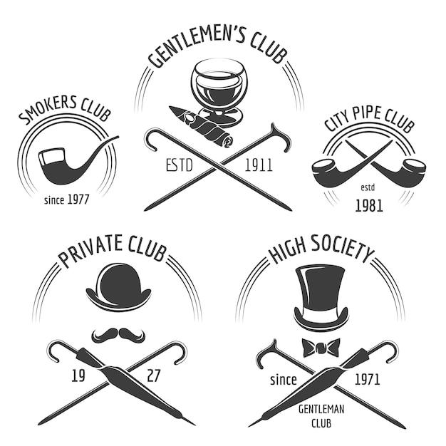 Vintage heren club embleem set. gentleman club embleem, label heren, snor hipster vectorillustratie Gratis Vector