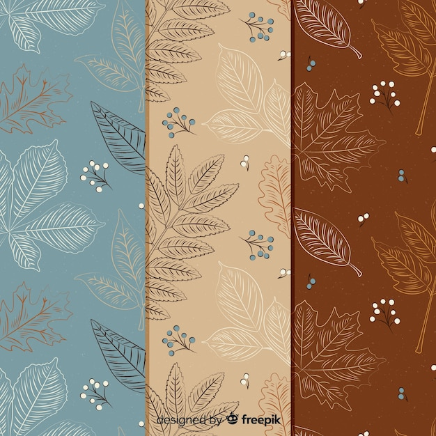 Vintage herfst patroon collectie Gratis Vector