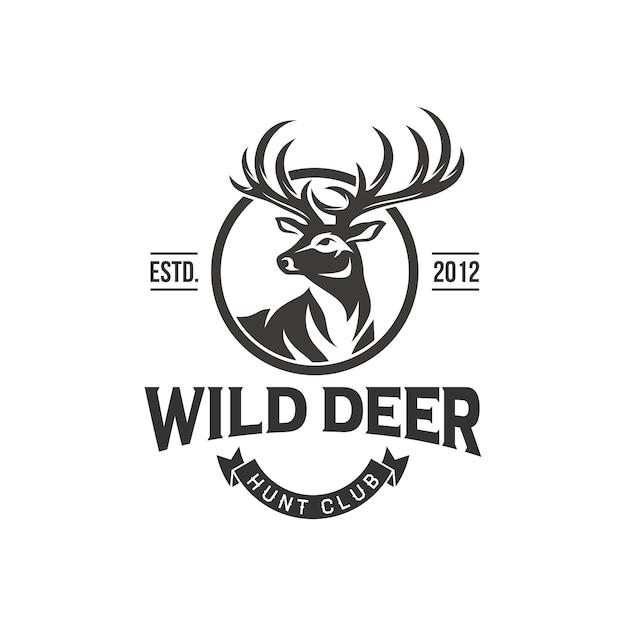 Vintage herten jager logo ontwerp Premium Vector