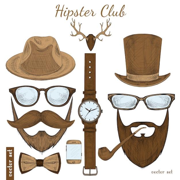 Vintage hipster club accessoires Premium Vector