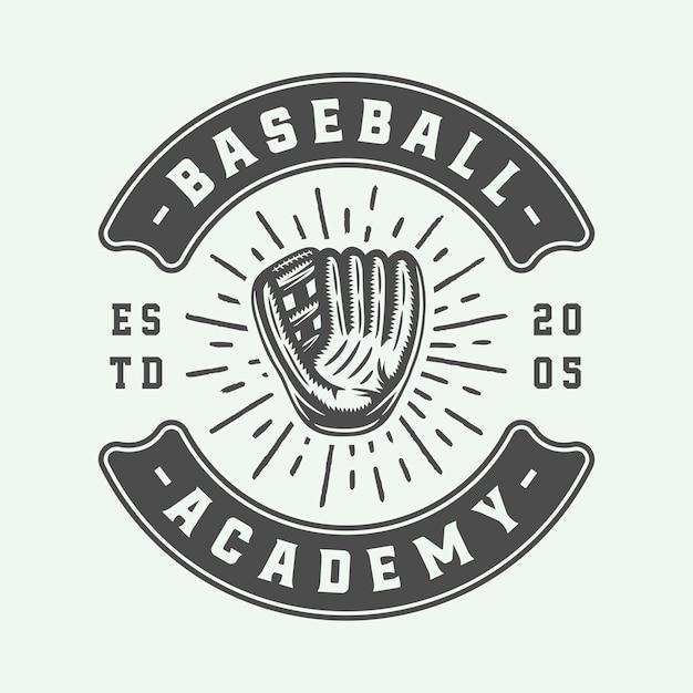 Vintage honkbal sport logo Premium Vector