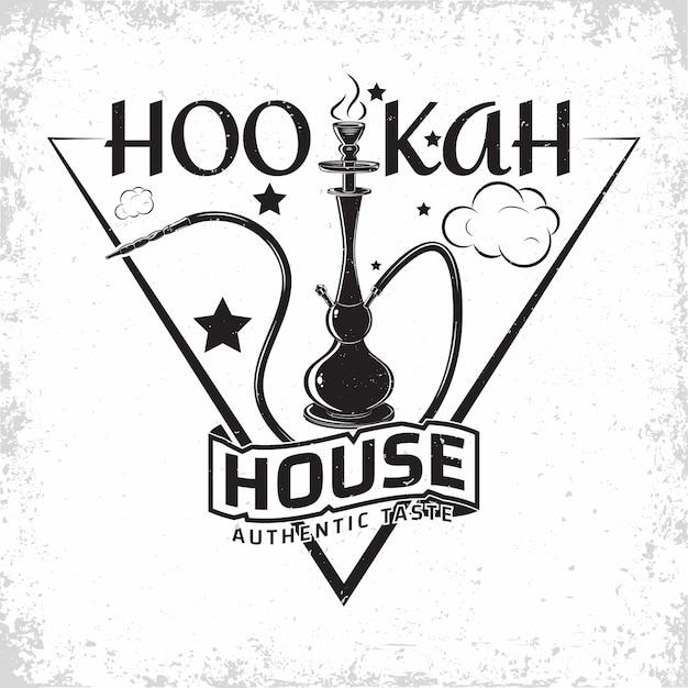 Vintage hookah lounge logo-ontwerp, embleem van waterpijpclub of huis, monochroom typografie-embleem, print stempels met gemakkelijk verwijderbare grange Premium Vector