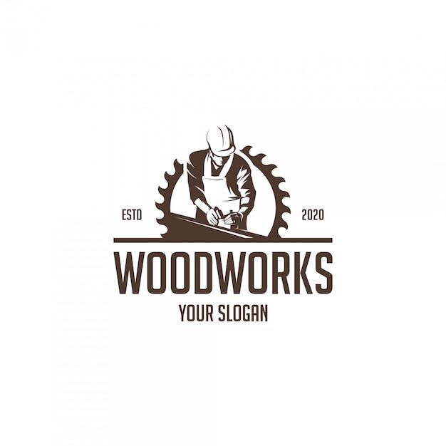 Vintage hout werkt silhouet logo Premium Vector