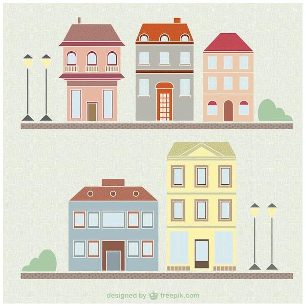 Vintage huizen en gebouwen tekenen set vector gratis for Huizen tekenen