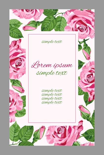 Vintage huwelijksuitnodigingen met roze rozen en rechthoekig frame. bloemen voor wenskaart Premium Vector