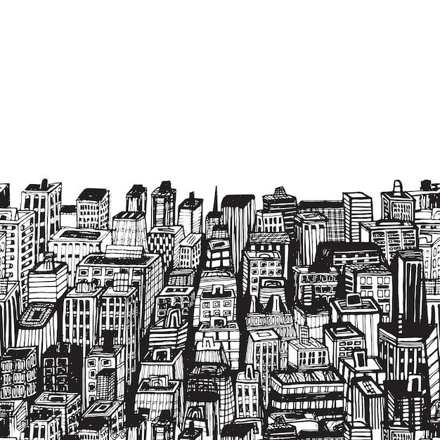 Vintage illustratie met hand getrokken grote stad new york nyc architectuur, wolkenkrabbers, megapolis, gebouwen, de stad in. Premium Vector
