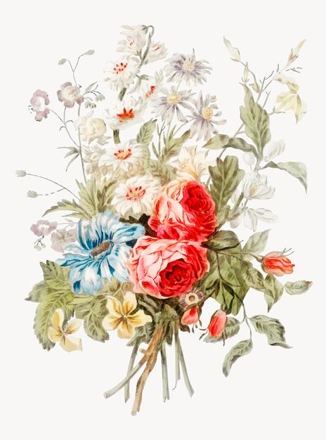 Vintage illustratie van boeket bloemen Gratis Vector