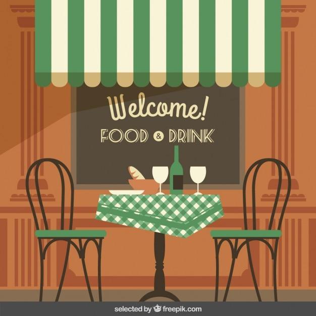 Vintage illustratie van cafe terras Vector   Gratis Download