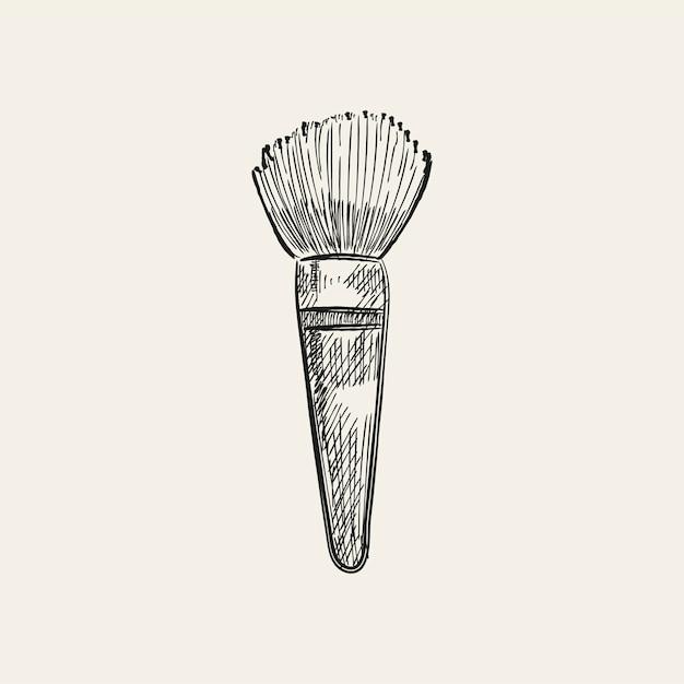 Vintage illustratie van een make-upborstel Gratis Vector