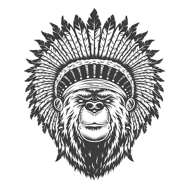 Vintage indian chief beer hoofd Gratis Vector