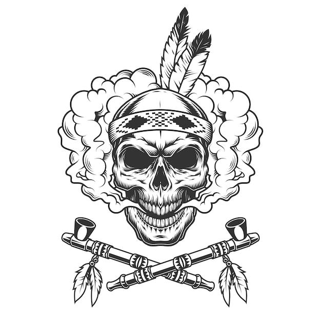 Vintage indiase krijger schedel met veren Gratis Vector