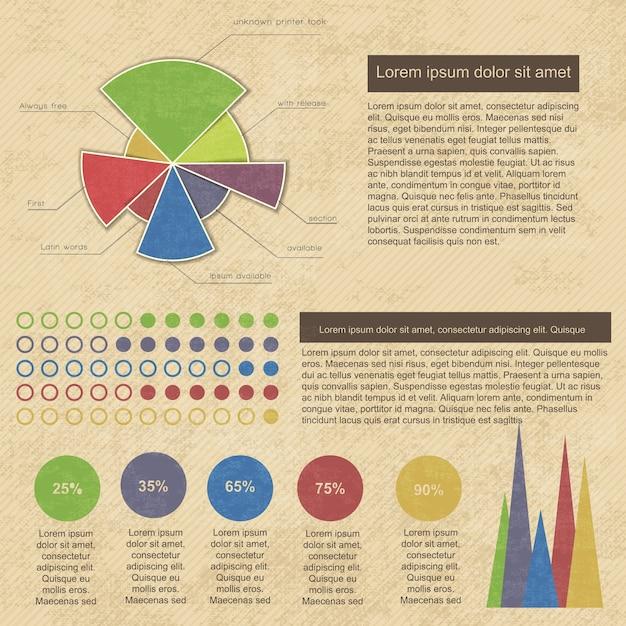 Vintage infographics set met zakelijke diagrammen en grafieken Gratis Vector