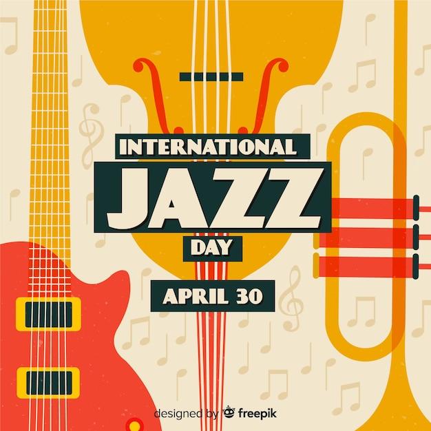 Vintage internationale jazz dag achtergrond Gratis Vector