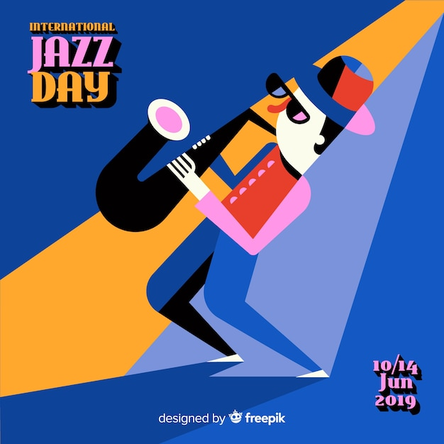 Vintage internationale jazz dag achtergrond Gratis Vector