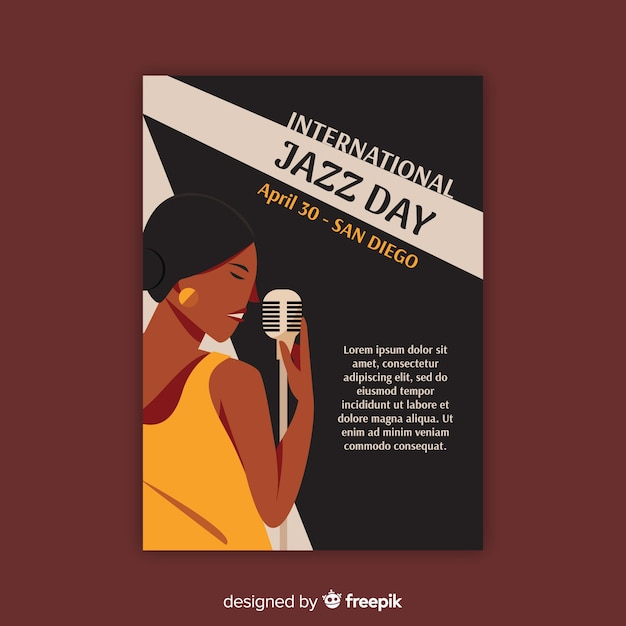 Vintage internationale jazz dag poster sjabloon Gratis Vector