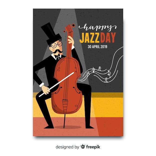 Vintage internationale jazz dag poster sjabloon Gratis Vector