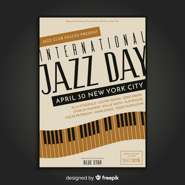 Vintage internationale jazzdag poster Gratis Vector